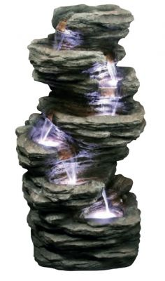 6 Fall Slate Water Feature with Lights W43cm x H81cm