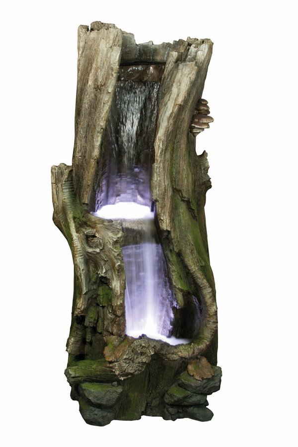 Large 2 Fall Tree Trunk Water Feature with Lights W64cm x H133cm