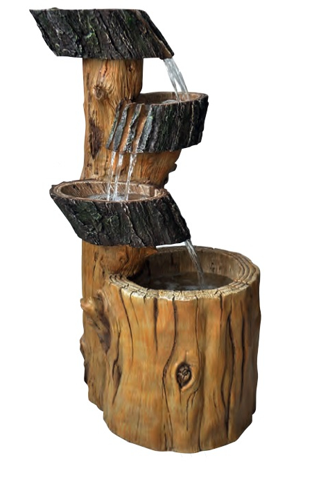3 Fall Tree Trunk Water Feature with Lights W43cm x H77cm