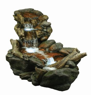 Large Boulder River Falls Water Feature with Lights W150cm x H72cm