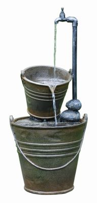 2 Tin Buckets with Tap Water Feature with Lights W33cm x H75cm