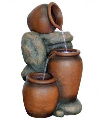 3 Pots on Boulder Water Feature with Lights W35cm x H59cm