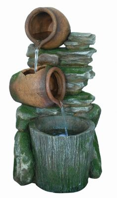 2 Pots with Bucket on Slate Water Feature with Light W38cm x H67cm