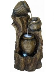 3 Ribbed Pots on Tree Trunk Water Feature W31cm x H65cm