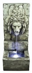 Grey Lions Head on Wall Water Feature with Lights W43cm x H100cm