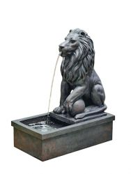 H59cm Sitting Lion by Pool Water Feature with Lights