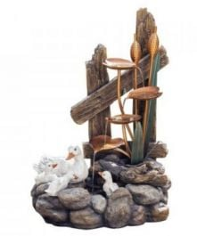 Ducks by Lily Pond Water Feature with Lights W50cm x H71cm