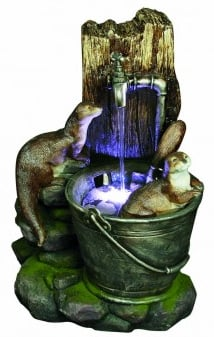 2 Otters at Tap Water Feature with Lights W38cm x H56cm