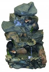Otters Building Dam Cascading Water Feature with Lights W48cm x H64cm