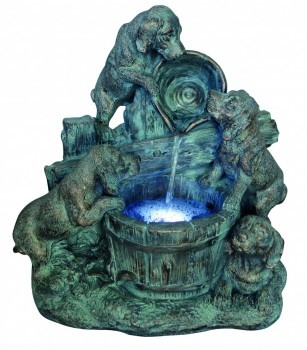 4 Bronzed Puppies Water Feature with Lights W54cm x H56cm