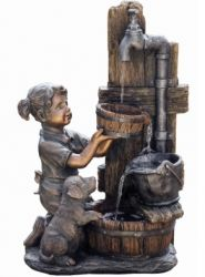 Girl & Puppy at Tap Cascading Water Feature with Lights W44.5cm x H67cm