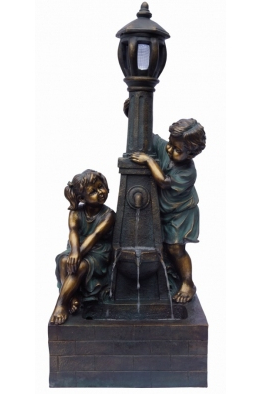 Playful Boy & Girl at Lamp Water Feature with Light W51cm x H125cm