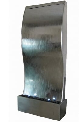 Mumbai Stainless Steel Water Feature Wall with Spotlights W130cm x H302cm