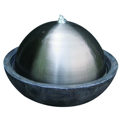 Goa Stainless Steel Sphere Water Feature with Lights D59cm x H42cm
