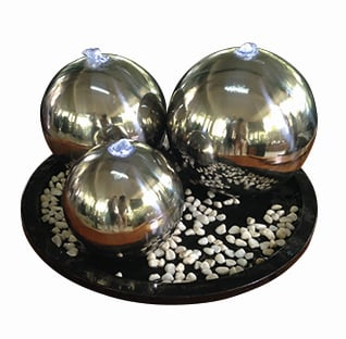 Chennai Stainless Steel Spheres Water Features with Lights D55cm x H48cm