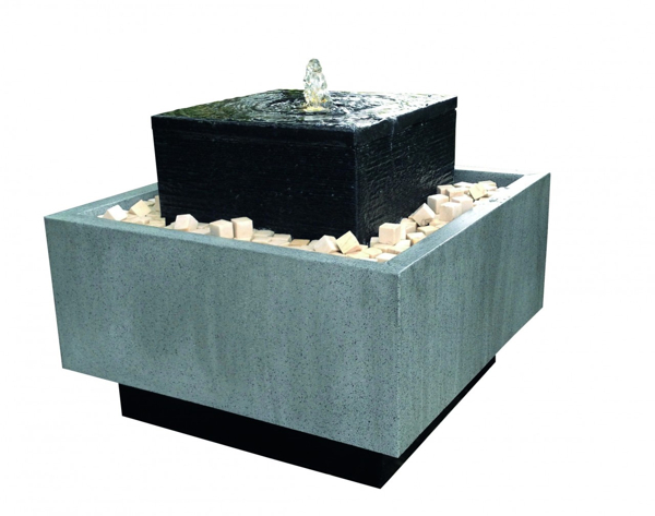 Rimini Zinc (Granite Top) Geometric Water Feature with Lights - 50cm
