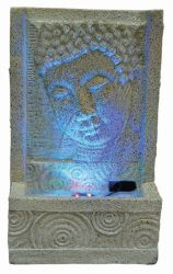 Sandstone Buddha Face with Swirl Water Feature with Lights W16.5cm x H28cm