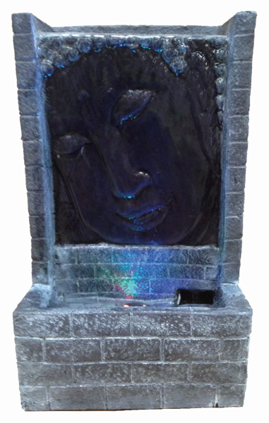 Grey Buddha Face with Brick Water Feature with Lights W16.5cm x H28cm