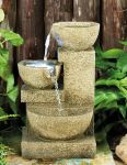 3 Bowl Sandstone Cascading Water Feature with Lights W17cm x H27cm