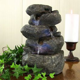 4 Fall Rock Cascading Water Feature with Lights W18cm x H28cm