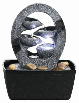 4 Bowls in Surround Cascading Water Feature with Lights W20cm x H26cm