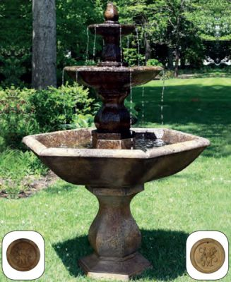 Three Tier Boca Hexagon Fountain in Gravel Mountain W112cm x H179cm