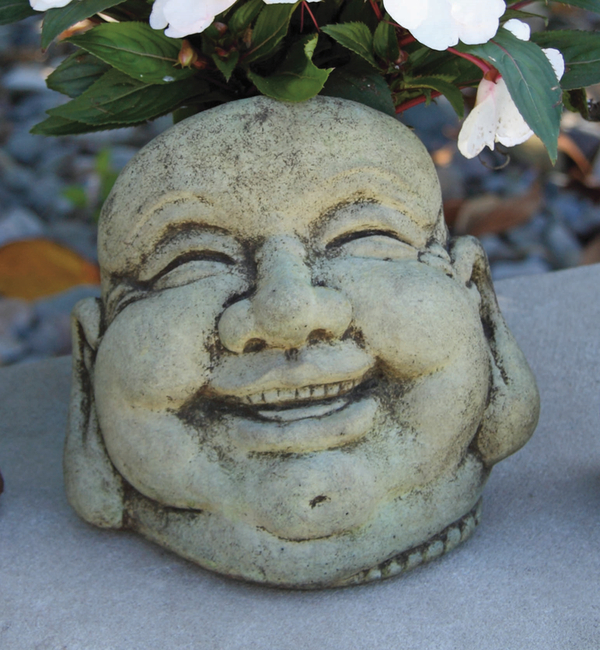 Small Laughing Hoi Toi  Cast Stone Bust H18cm x W18cm