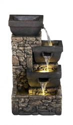 H31cm Bowls on Stone Wall Solar Water Feature