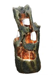 H39cm 5 Fall Open Tree Trunk Cascading Fountain with Lights
