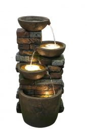 H44cm Braga Pouring Bowls Cascading Water Feature with Lights