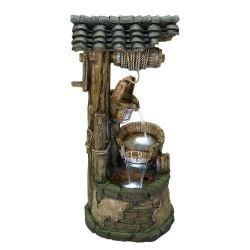 H56cm Rustic Wishing Well Water Feature with Lights