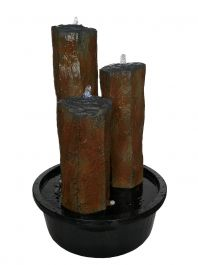 H55cm 3 Stone Basalt Columns Water Feature with Lights