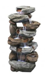 H76cm Oklahoma Rock Falls Cascading Water Feature with Lights