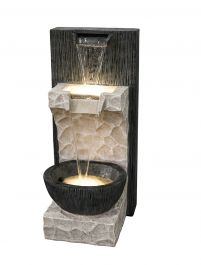 H36cm 2 Fall Cascade Water Feature with Lights