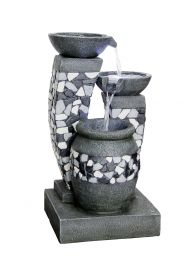 H27cm Mozaic Grey Bowls Cascading Water Feature with Lights