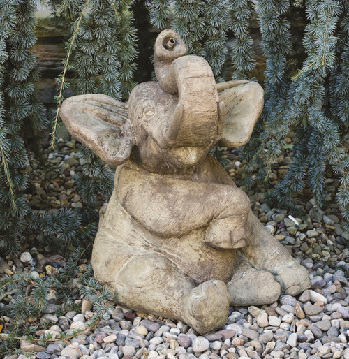 Sitting Elephant Spitter Cast Stone Water Feature H53cm x W33cm