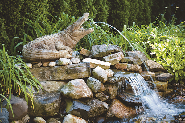 Alligator Spitter Cast Stone Water Feature H46cm x W22cm
