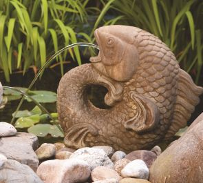 Cast Stone Curling Carp Spitter Water Feature H46cm x W20cm