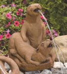 Otter Couple Cast Stone Spitting Water Feature H43cm x W32cm