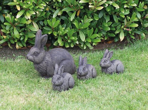 Cast Stone Rabbit Set Statues H31cm x W15cm