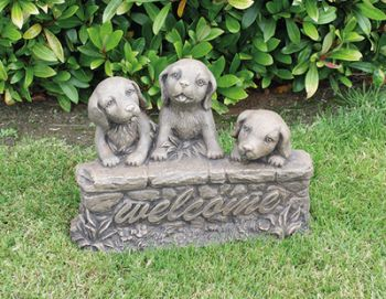 Three Welcome Puppies Cast Stone Ornament H34cm x W22cm