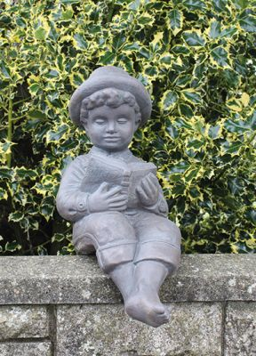 Small Reading Boy Cast Stone Statue H61cm x W24cm