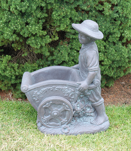 Boy with Flower Cart Cast Stone Statue H66cm x W34cm