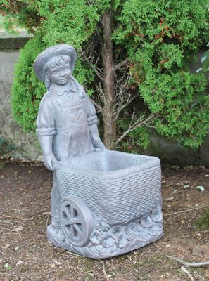 Girl with Flower Cart Cast Stone Statue H66cm x W31cm