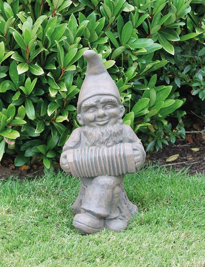 Large Accordian Gnome Cast Stone Statue H48cm