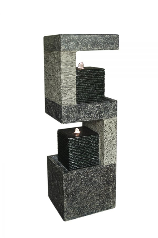 H3cm S Shape Black Columns Water Feature with Lights