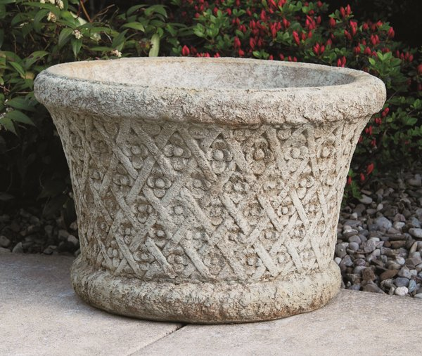 Roundflower Weaved Cast Stone Planter H41cm x W64cm