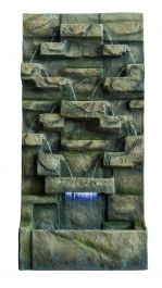 H91cm Brown Water Wall Water Feature with Lights
