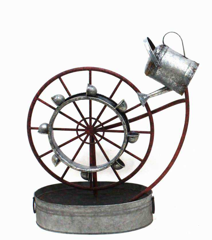 H75cm Metal Water Wheel Fountain Water Feature