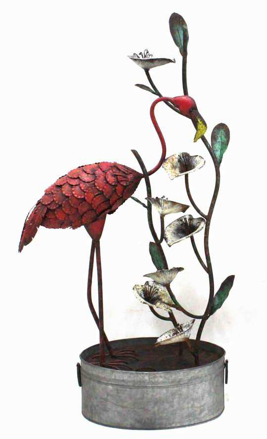 H61cm Metal Flamingo Fountain Water Feature